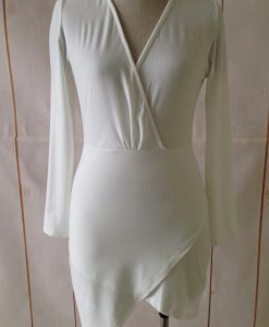 Bandage Bodycon Deep V-neck Long Sleeve Asymmetric Elegant Short Dress