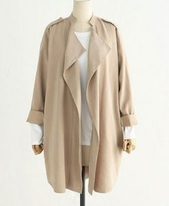 Long Khaki Trench Windbreake Coat