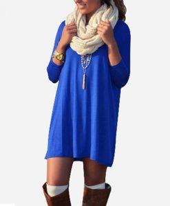 Loose Three Quarter Sleeve Mini Dress
