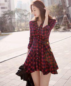 Long Sleeve Turn Down Collar Plaid Long Shirt Dress