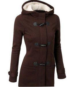 Wool Blends Slim Hooded Collar Horn Button Coat