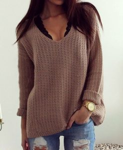 Loose Knitted V-neck Sweater