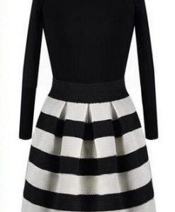 Striped Knitted Casual O-neck Long Sleeved Dress