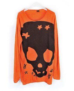 Long Sleeve Skull Loose Round Neck Knitwear Sweater