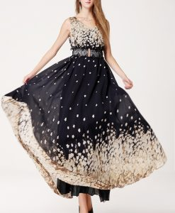 Casual V-Neck Long Printed Floral Dress