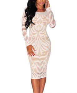 Orcfly Net SLim Illusion Long Sleeve Dress