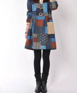 Print Natural Broadcloth Hole Contrast Color Dress
