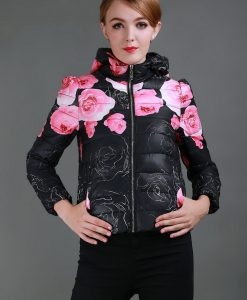Long Sleeve Print Floral Winter Jacket