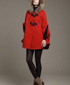 Faux Fur Collar Cape Cloak Hooded Coat