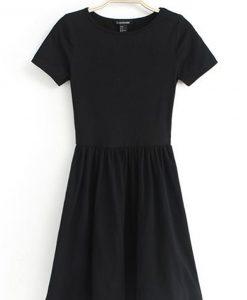 Short Sleeve Plain Cotton Skater Slim Waist Dress