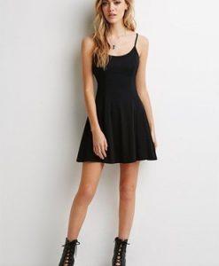 Backless Sleeveless Dress O-neck Sheath Spaghetti Strap Cotton Dress