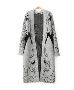 Long Novelty Head Printed Knitted Cardigan