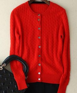 Wool Cashmere Knitted Long Sleeve Cardigan