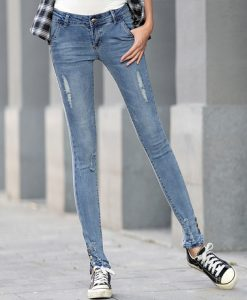 Ripped Embroidered Flares Slim Jeans