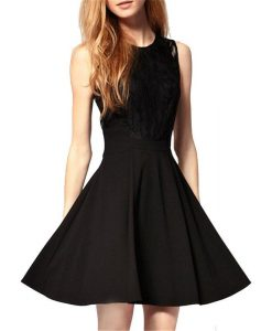 Lace Round Neck Hollow Out Flared Mini Dress