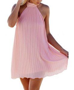 Halter Sleeveless Off The Shoulder Chiffon Pleated Loose Short Dress