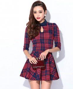 Plaid Small Lapel Two-piece Dress