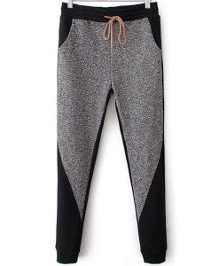 Long Grey Black Mid Drawstring Waist Trousers