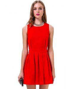 Temperament Red Backless Evening Dress
