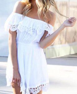 Stylish lace white Dress for summer 2016