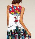 New Retro print sleeveless shift dress with heart design
