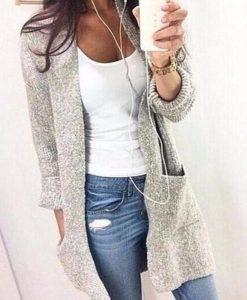 Long light grey cardigan