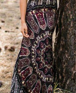 Elastic waist boho pattern summer skirt